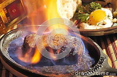 Steak flambée