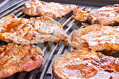 Steak meat grilled on barbecue