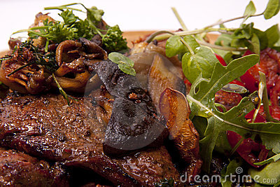 Steak and mushroom.
