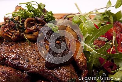 Steak and mushroom.