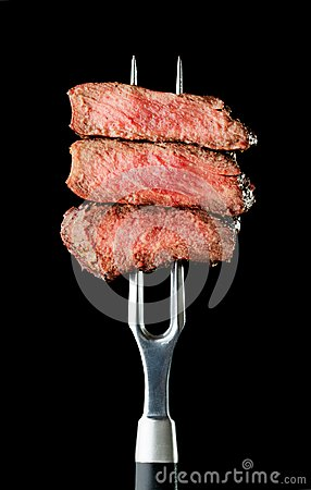 Free Steak On Fork Royalty Free Stock Photo - 109019975