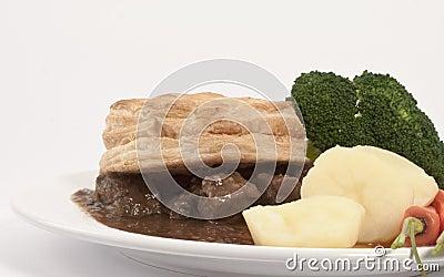 Steak Pie and Veg Dinner