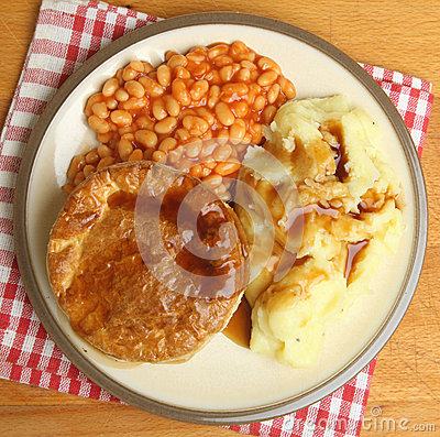 Free Steak Pie With Baked Beans & Mashed Potato Stock Photo - 33603380