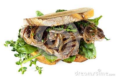 Steak Sandwich with Caramelized Onions and Herbs Isolated