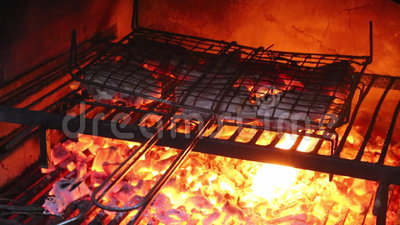 Steaks cooking on an outside grill. In in celebration stock footage