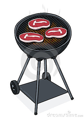 Steaks on a grill illustration