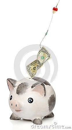Stealing money from a piggy bank