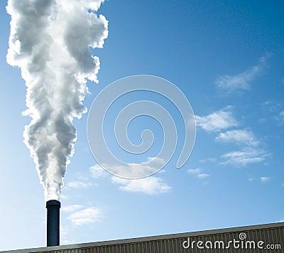 Steam agains blue sky
