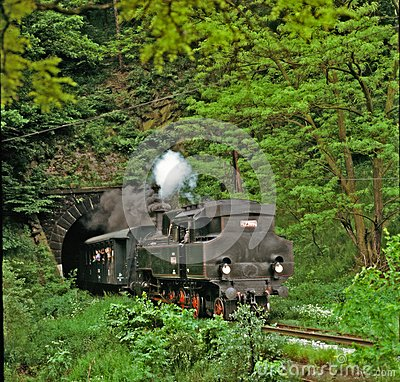 Steam engine going from tunnel