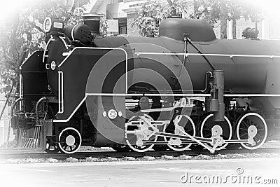 Steam Engine Locomotive, B&W