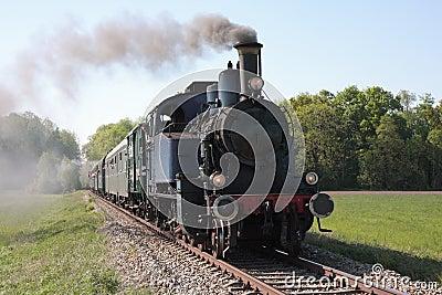 Steam engine powered train