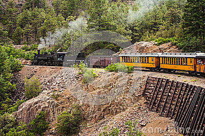 Steam Engine Train in Mountains Editorial Image