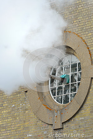 Steam exiting building