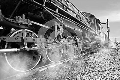 Steam Locomotive,black and white