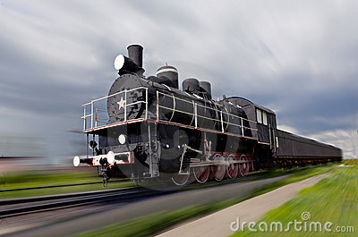Steam locomotive in motion