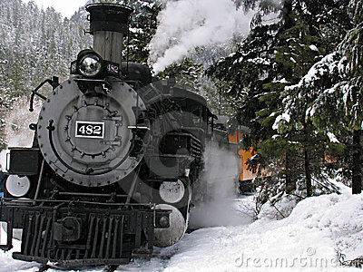 Steam locomotive in snow