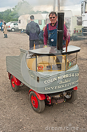 Steam lorry displayed at Boat of Garten. Editorial Image