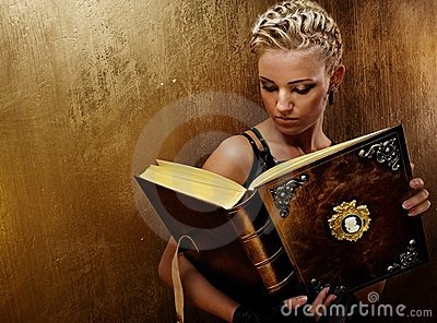 Steam punk girl with a book.