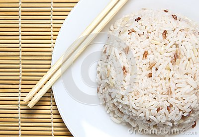 Steam rice with chopstick