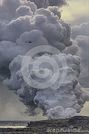 Free Steam Rising From Lava Flowing Into The Ocean. Royalty Free Stock Image - 96440226