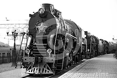 Steam train black-and-white