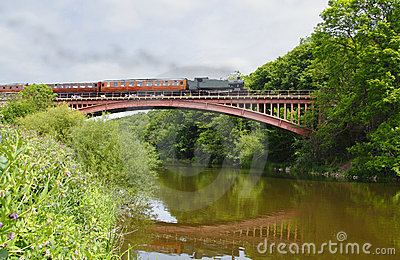 Steam train on bridge