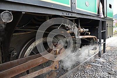 Steam on train