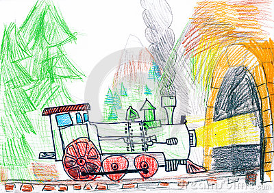 Steam train goes to subway. child s drawing.
