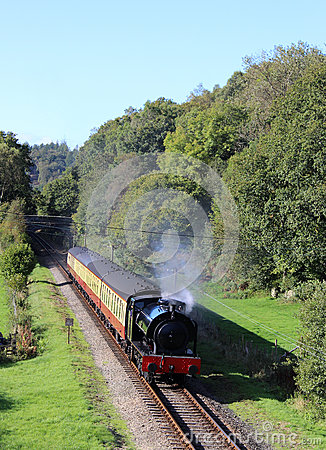 Steam train on Lakeside and Haverthwaite railway Editorial Image