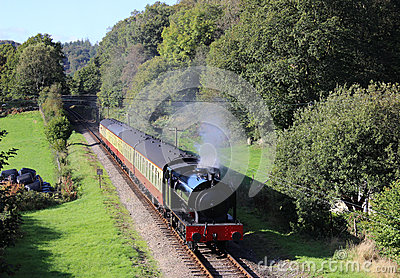 Steam train on Lakeside and Haverthwaite railway Editorial Photo