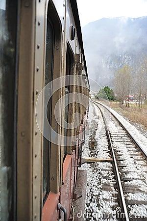 Steam train on railroad
