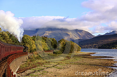 Steam train travelling towards Ben Nevis, Scotland
