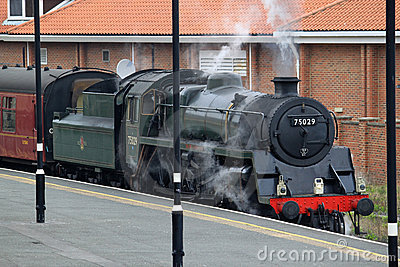 Steam train in Whitby station, North Yorkshire. Editorial Photography