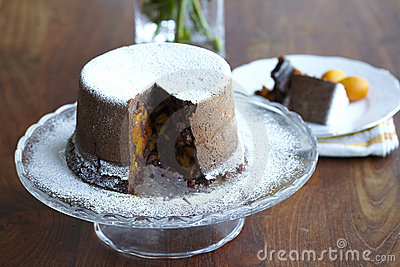 Steamed chocolate cake with kumquats