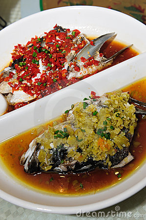 Free Steamed Fish Head With Diced Hot Red Peppers Royalty Free Stock Photo - 16205595