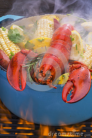 Free Steamed Lobster And Vegetables Cooking Over A Barbecue Grill Royalty Free Stock Image - 50925556