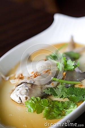Steamed pom fret fish