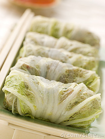 Free Steamed Pork And Vegetable Cabbage Rolls With Swee Stock Image - 5356321