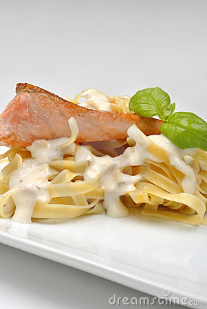 Steamed salmon steak with home made pasta