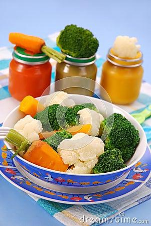 Steamed vegetables for baby