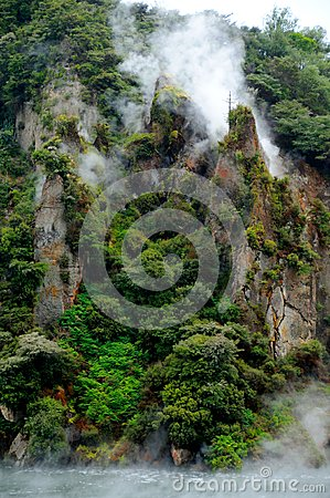 Steaming Cathedral Rocks, Waimangu Volcanic Valley