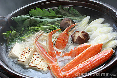 Steaming crab nabemono , japanese steamboat dish