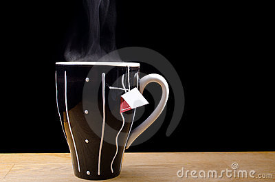 Steaming hot cup of tea