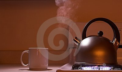 Steaming tea kettle