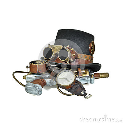 Steampunk accessories - hat, goggles, gun, watch