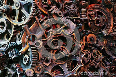 Steampunk background, machine and mechanical parts, large gears and chains from machines and tractors. Stock Photo