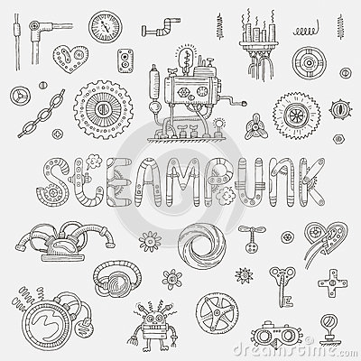Free Steampunk Doodle Elements Royalty Free Stock Photography - 50453247