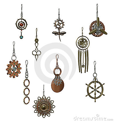 Free Steampunk Earrings Stock Photography - 14538912