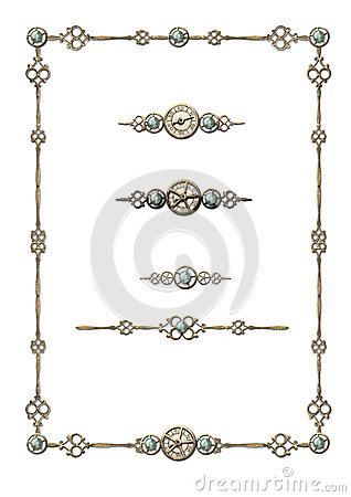 Free Steampunk Frame & Selection Of Ornaments Stock Photo - 25219440