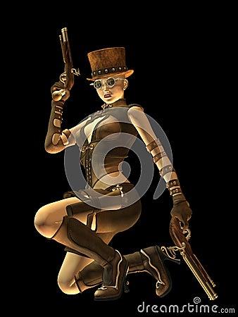 Steampunk-Fraupistolenheld